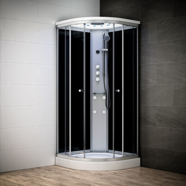 cabine de douche integrale 100x100 d angle silver. Black Bedroom Furniture Sets. Home Design Ideas