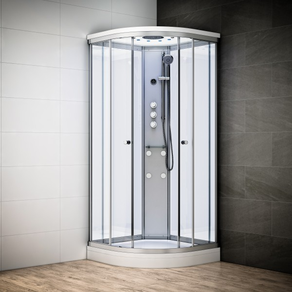 cabine de douche integrale 90x90 d angle silver. Black Bedroom Furniture Sets. Home Design Ideas