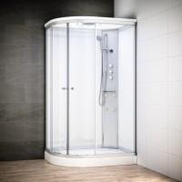Cabine Silver Massage asymétrique avec vitres blanches | Version droite