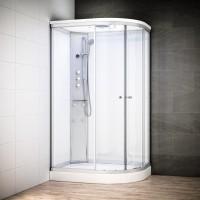 Cabine Silver Massage asymétrique avec vitres blanches | Version gauche