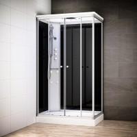 Cabine Silver Massage rectangulaire avec vitres noires | Version gauche