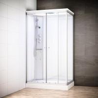 Cabine Silver Massage rectangulaire avec vitres blanches | Version gauche