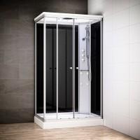 Cabine Silver Massage rectangulaire avec vitres noires | Version droite