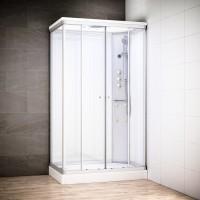 Cabine Silver Massage rectangulaire avec vitres blanches | Version droite
