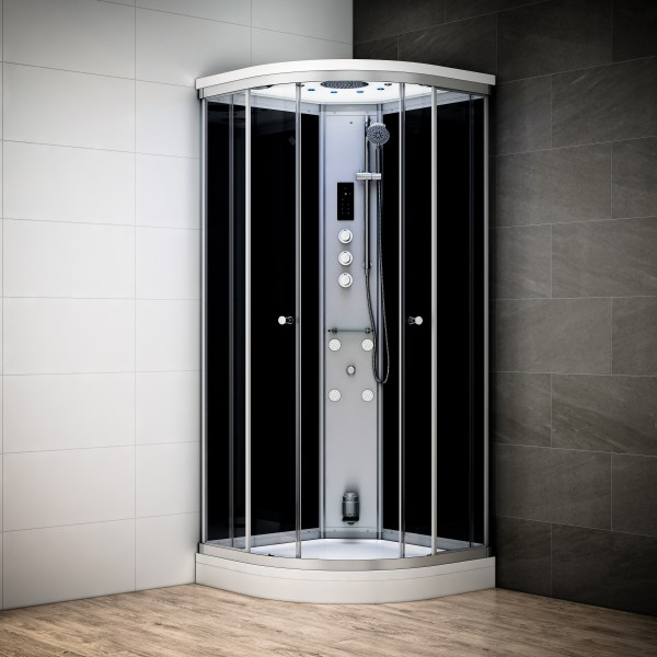cabine douche hammam neptune silver 1 4 de rond 80 x 80cm. Black Bedroom Furniture Sets. Home Design Ideas