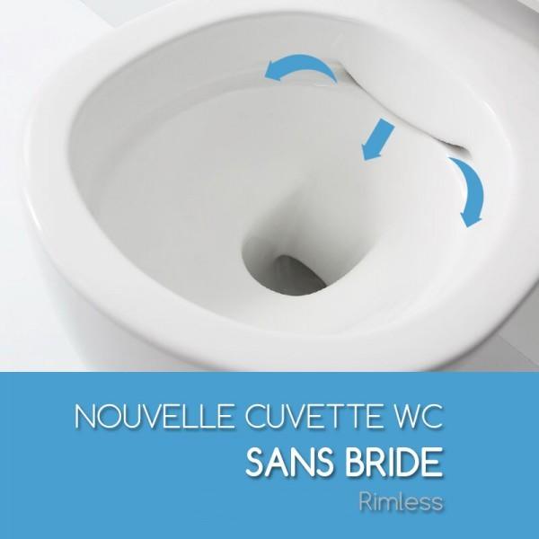 Cuvette suspendue sans bride saneo compact avec abattant for Changer une cuvette de wc