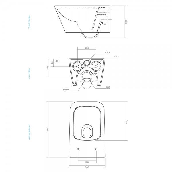 wc suspendu design cosmo avec abattant thermodur freins de fermeture. Black Bedroom Furniture Sets. Home Design Ideas