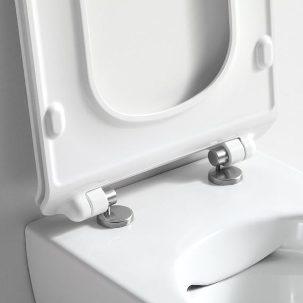 cuvette suspendue sans bride saneo compact avec abattant silencieux. Black Bedroom Furniture Sets. Home Design Ideas