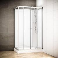 Cabine Silver Integral rectangulaire avec vitres blanches | Version droite