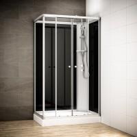 Cabine Silver Integral rectangulaire avec vitres noires | Version droite