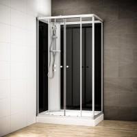 Cabine Silver Integral rectangulaire avec vitres noires | Version gauche