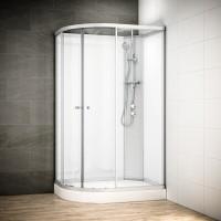 Cabine Silver Integral asymétrique avec vitres blanches | Version droite