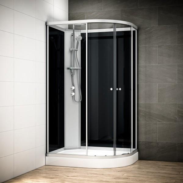 cabine de douche 120x90 silver noir gauche. Black Bedroom Furniture Sets. Home Design Ideas